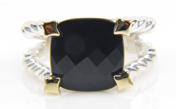 RESERVED Black Onyx Ring - Sterling Silver 6.36 carat Onyx Ring- Right Hand Ring - Fine Jewelry Ring