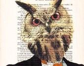 Owl businessman- ORIGINAL ARTWORK Hand Painted Mixed Media on 1920 Parisien Magazine 'La Petit Illustration' xyz