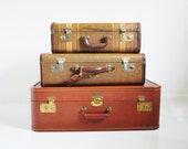 Mid-Century Suitcase - Chestnut Brown - Striped