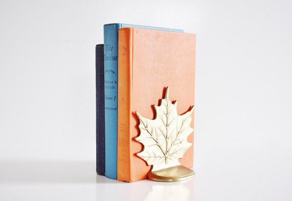 Brass Maple Leak Bookends