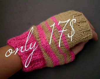SALE fingerless gloves/mittens with pink and beige acrylic stripes