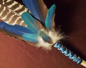 Smudge Fan- Visions in the Water- Sacred Smudge Fan with Selenite Crystal- made to order