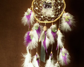 Dream Catcher- Flowing from the Core- White Willow Dream Catcher with perfect Flourite Bear- Made to Order