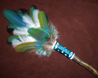 Smudge Fan-Into The Sky- Sacred Prayer Fan with Blue Kyanite Crystal - Made to Order