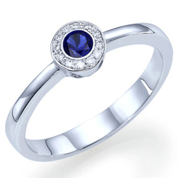 Natural Real Round Cut Blue Sapphire Halo Engagement Ring 14k White or Yellow Gold - With Selecting Center Sapphire