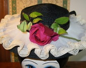 Black Straw 30's 40's hat with cream pleated ruffling and Red Rose on top