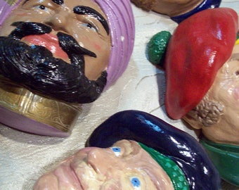 Lot of 4 Mens face sculptures plaster wall decoration Sultan, Irishman, Scotsman, Sailor