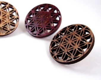 Flower of Life Wooden Hat Pin - READY TO SHIP - Sustainably Harvested Oak, Walnut or Red Stained Maple Wood - Lapel Pin, button