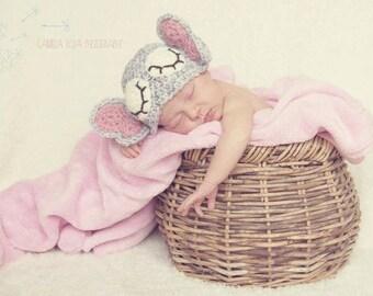 Super cute crochet sleepy elephant hat, beanie. Newborn. Great photo prop.
