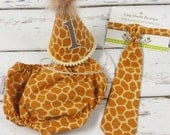 Boys First Birthday Smash Birthday Outfit with a party hat necktie diaper cover in tan giraffe