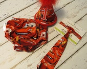Boys First Birthday Photo Cake Smash Outfit in Lightning McQueen Cars Movie Print