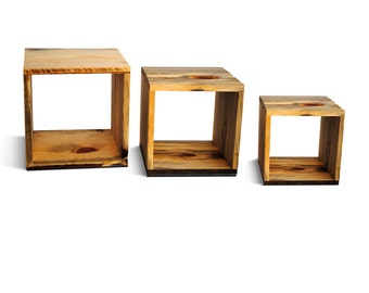 Reclaim Wood Storage Cubes - three nested storage cubes --- sustainably made furniture from Naturally Aspen