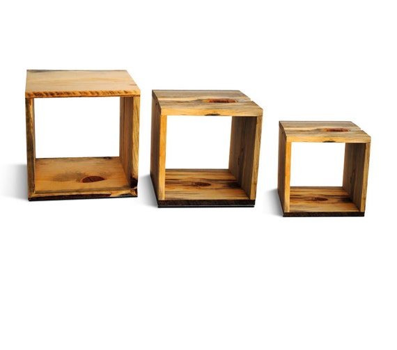 Reclaim Wood Storage Cubes Three Nested Storage By Naturallyaspen