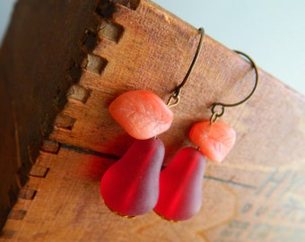 Pear Earrings, Harvest Pears, Cranberry Red, Autumn Orange Leaves, Fall Earrings, Pear Cider, Vintage Earrings, Autumn Earrings, Retro