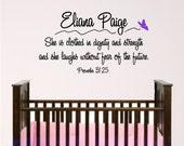 Nursery Bible Verse Wall Art, Proverbs 31.25