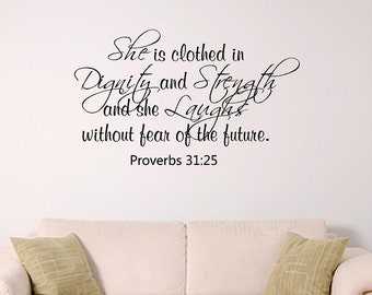 Proverbs 31 Wall Art - Girl Wall Decal - Dorm Room Wall Decor