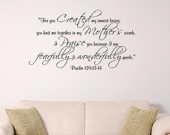 Psalm 139 Wall decal, Bible Verse Decal, Nursery, Dorm, Church or Home Decal