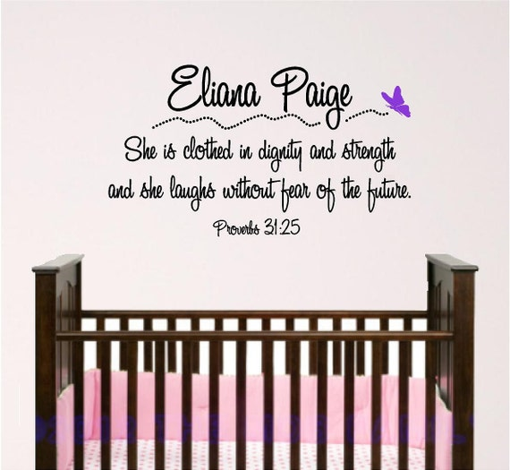 Proverbs 31 25: Nursery Bible Verse Wall Art Proverbs 31.25
