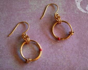 Earrings, Simple Gold Circle