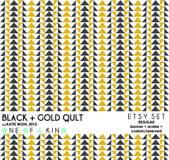 Black and Gold Quilt - etsy set