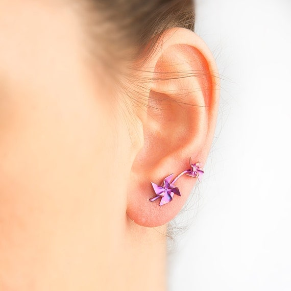 Pinwheel earringsdouble ear piercing by largentolab on Etsy Ear Piercing Jewelry