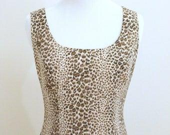 leopard print short shift dress cream brown vintage 1980s