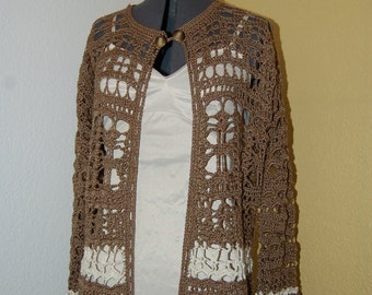 Crochet Cardigan Sweater  in Brown and Ecru Cotton Size Large/X Large