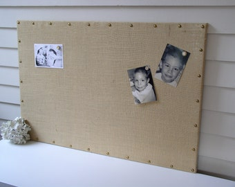 Burlap Magnet Board - MAGNETIC Organization Bulletin Board - 26.5 x 38.5 inches - with Brass Upholstery Nail Head Tacks and Button Magnets