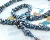 Freshwater Pearls Yarn Necklace - Open End Design Hand-knitted from Teal Colored Nylon Yarn with Peacock Luster Freshwater Pearls