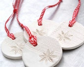 Clay Sculpture Ornament with Burlap and Star Anise  Impression Christmas Holiday Decoration White Round - Set of 4 - SOLD OUT