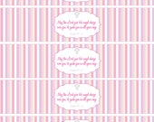 Baptism- Water bottle wrappers in Pink or Blue- print your own