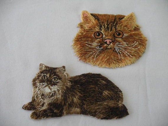 2  ELEGANT pussy CATS KITTEN Embroidered Iron On
