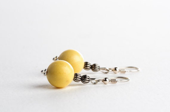 Yellow Summer Earrings Beaded Rustic Spring Summer Fashion Jewelry