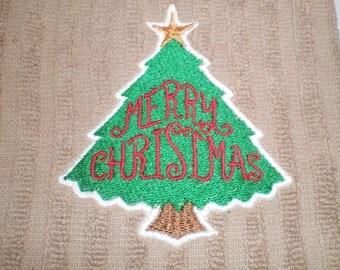 Christmas Towel, Kitchen Towel, Christmas Tree Embroidery, Country Kitchen Decor, Holiday Towel Light Brown, Home Decor, Merry Christmas