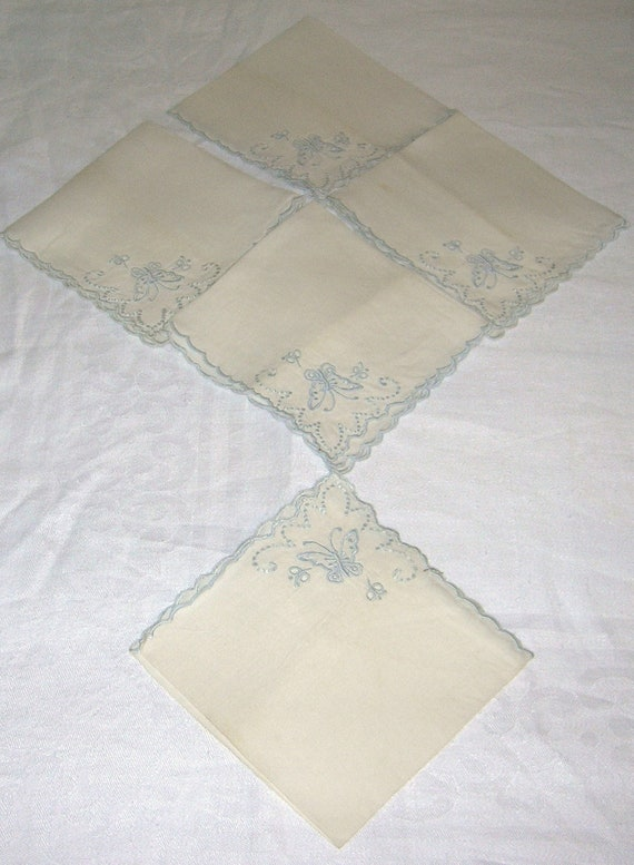 SALE - 5 Vintage Embroidered in Blue Cotton Linen Cocktail Napkins Circa 1950's.