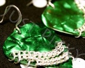 Green Guitar Pick Earrings with Silver Chain
