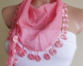 bridal wedding cotton scarf with lace new design shawl neckwarmer cowl christmas gift for her coral