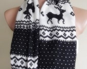 loop infinity circle pashmina scarf black white reindeer pattern christmas gift for her