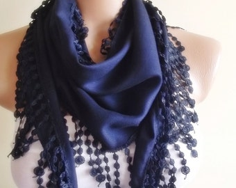 Pashmina scarf with lace christmas gift for her scarf stylish navy blue