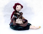 Autumn Cloth ART DOLL. OOAK articulated / jointed soft art doll with Carmine/ burgundy hair