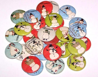 "Winter Snowman Set of 10 Buttons 1"" Pins or Magnets Let It Snow"