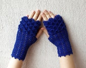 Cute Blue arm warmers, Women Fingerless gloves, Crochet crocodile stitch mittens - navy, spring accessory.