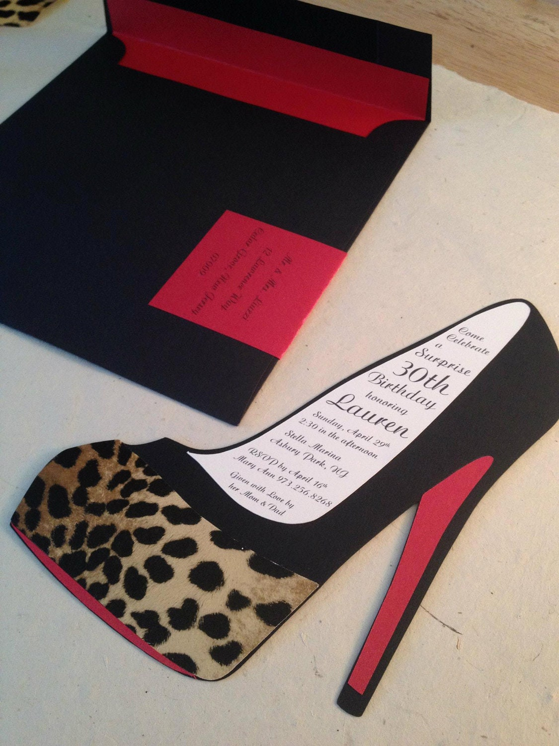 high heel template for cards - high heel stiletto handmade invitation by purplesnowflakexo