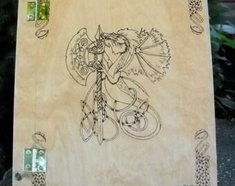 Dragon themed wood burned Book of Shadows