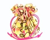 Drawstring Jewelry Pouch - Pink, green and yellow circles travel bag