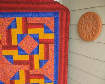 Bright Southwest Quilt Red Blue Gold
