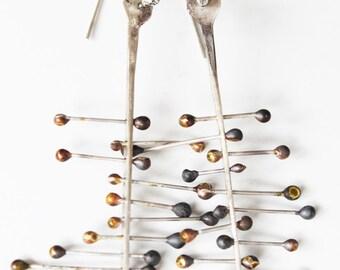Organic silver earrings, Long silver earrings, Contemporary silver earrings,  Contemporary jewelry, Organic silver earrings, Raw silver