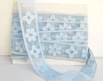 Vintage Lace, Baby Blue Flower Lace Trim, Spring Fashion, Sewing Supplies