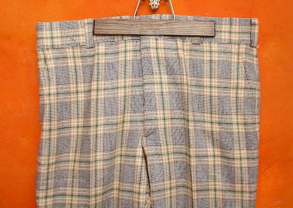 New NWT Vintage 60s 70s Men's Plaid PANTS. Black Tan Green 38