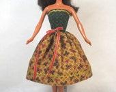 Fall Color  - Dress Handmade Barbie Doll Clothes